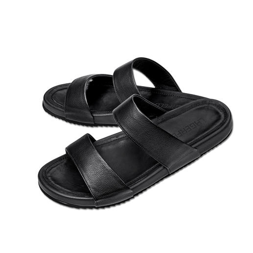 Karl Lagerfeld Calfskin Leather Sandals The stylish way to wear sandals. Clean Karl Lagerfeld design. Sleek black. Elegant calfskin leather.