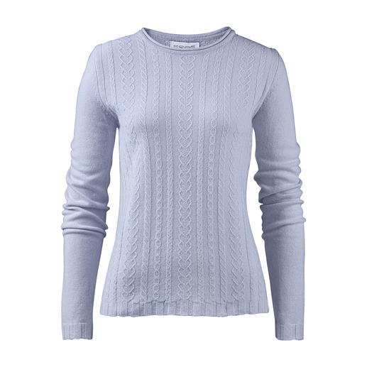 Eribé Textured Cashmere Pullover - Cable knit pullover suitable for year-round wear: Made from finely spun cashmere yarn.