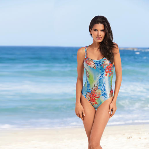 "SunSelect® Swimsuit ""Coral"" This swimsuit has the same effect as a good sun cream. Made from sun permeable SunSelect® fabric."