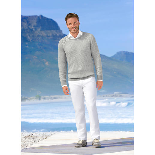 Carbery Patent Knit Pullover Textured patent stitch knitwear – ­unusually lightweight and airy. By Carbery.