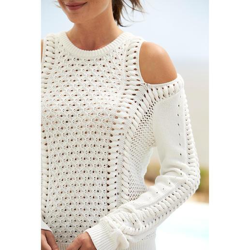 Minnie Rose Off-Shoulder Pullover Summery light cotton. Slip-resistant design. Classic pattern mix. Fine ecru. By Minnie Rose, New York.