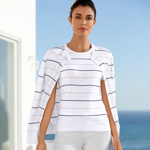 Smedley Twin Set with Block Stripes, Lilac/Violet Pure luxury made from precious Sea Island cotton. On-trend colours, fashionable stripes.