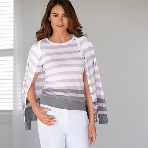 Smedley Block Stripe Twin Set, Rose/Grey - Pure luxury made from precious Sea Island cotton. On-trend colours, fashionable stripes.