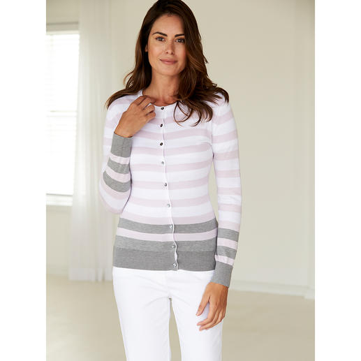 Smedley Block Stripe Twin Set, Rose/Grey Pure luxury made from precious Sea Island cotton. On-trend colours, fashionable stripes.