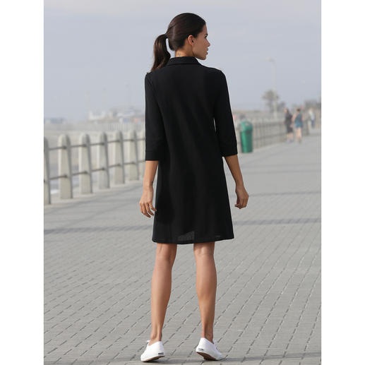 Sunspel Mesh Dress Wearing black at 30°C in the shade? Yes! The polo collar dress made from airy cotton mesh. By Sunspel, England.