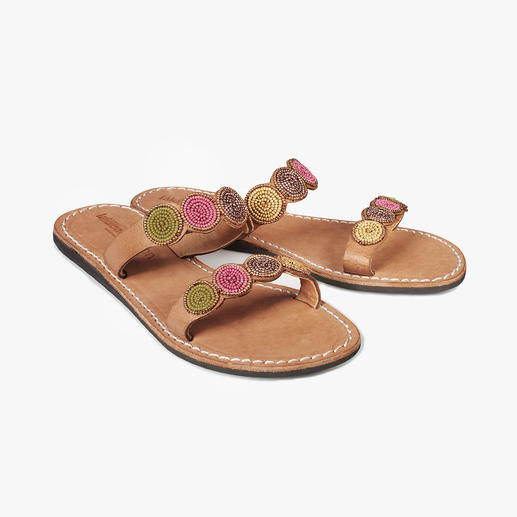 laidbacklondon Ethnic Style Flats Traditional African artisan craftwork: The shoe trend of the summer. Handmade pearl sandals by laidbacklondon.