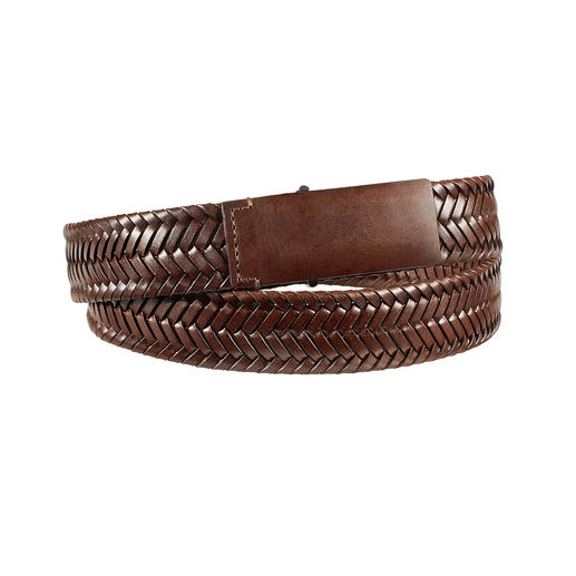 Leather Braided Business Belt This is how elegant a leather, ­braided belt can be. Soft calfskin. Fine braiding. Classical simple buckle.