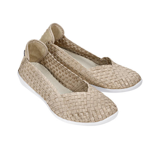 "bernie mev. Plaited Ballerinas, Gold Beige The fashion sensation from New York: Plaited ballerinas by the ""Master of woven Footwear"", bernie mev."