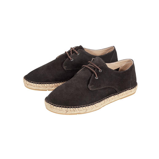 [espadrij] Cowhide Derby Shoes Espadrilles: From holiday cult shoes to city chic summer shoes. Laced derby style. Hardwearing rubber sole.