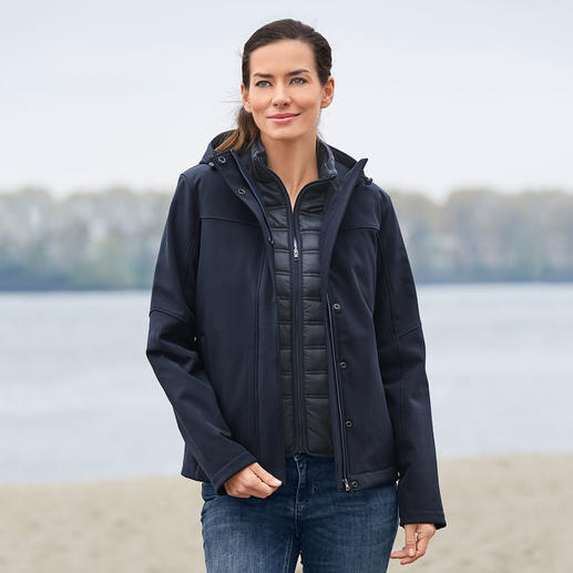 Aigle 3-in-1 All-weather Women's Jacket Wind and waterproof softshell with warm Primaloft® zip-off waistcoat.
