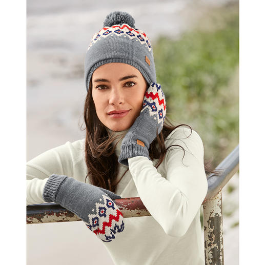 Aigle Norwegian Knitted Fleece Hat or Mittens Hat and mittens made of fine jacquard knit with cuddly teddy fleece. From Aigle, France.