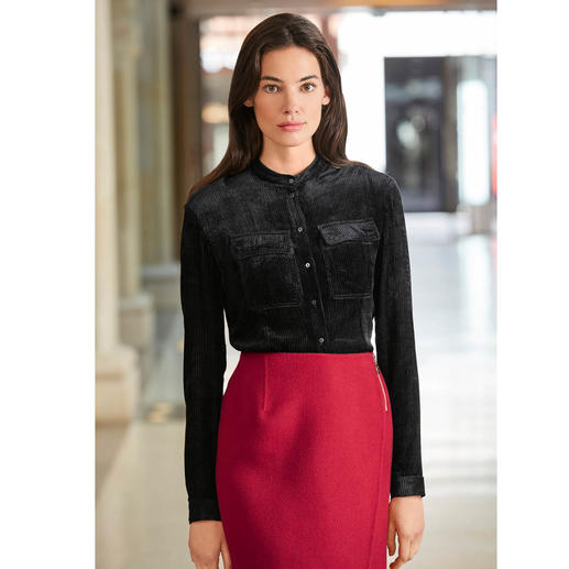 Cacharel Velvet Blouse Rarely is a black blouse so elegant and at the same time so unusual.