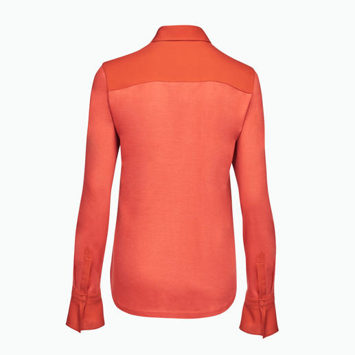 Strenesse Shirt Style Blouse As elegant as a blouse. As comfortable as a shirt. Stylish mix of jersey and satin. By Strenesse.