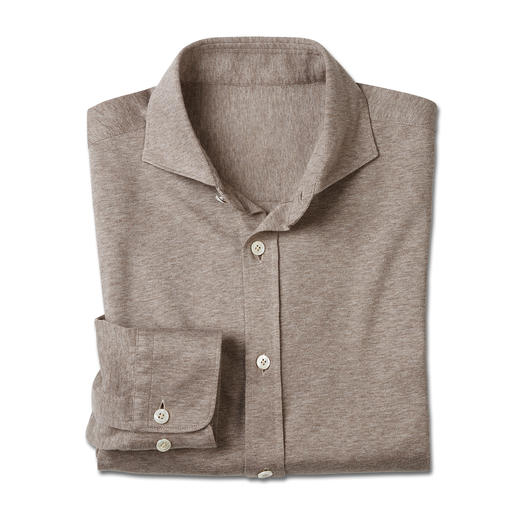 Dorani Jersey Shirt As formal as a shirt, yet as comfortable as a T-shirt. Soft cotton jersey, woven by specialist Tessilmaglia.