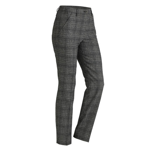 Washable virgin wool glen check trousers Fine wool cloth – still washable. The uncomplicated glen check trousers for 24 hours a day.