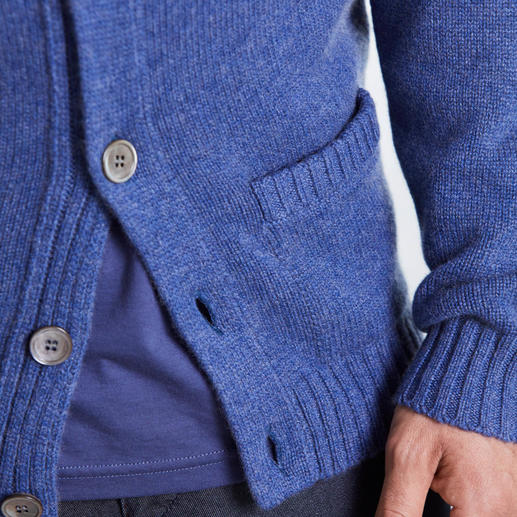 Alan Paine Cashmere Anniversary Cardigan This 6-ply luxury cardigan contains the hair of 4 cashmere goats. By Alan Paine and Z. Hinchliffe & Sons.