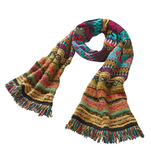 Ivko Jacquard Scarf Splendid colours, lively patterns: Rare knitted art from Serbia. The varied jacquard scarf by Ivko.