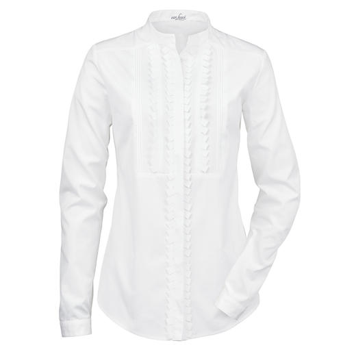van Laack Blouse with Stand-up Collar - Stand-up collar. Concealed button facing. Embellished plastron. By blouse specialist van Laack.