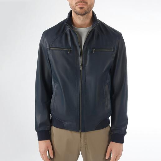Blue Lambskin Nappa Leather Summer Blouson