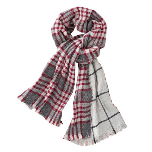 Johnstons Double- Face Checked Scarf, Red/Grey One elegant double-face scarf. Two classic patterns. By Johnstons of Elgin, Scotland, tradition since 1797.