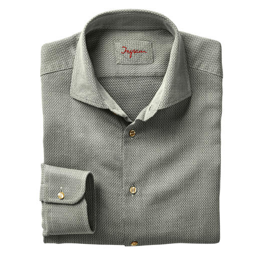 "Ingram Jacquard Shirt ""Micro Pattern"" Your perfect ""inbetween"" shirt for business and leisure. Fashionable sage white. Jacquard-woven micro pattern."