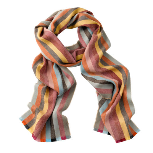 "Johnstons 265cm Striped Scarf It is hard to believe that it is ""just"" merino wool. By Johnstons of Elgin, Scotland."