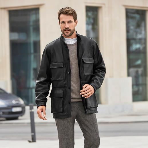 Hollington Kidskin Leather Field Jacket Unmistakably Hollington: The smart field jacket made of soft kidskin leather.