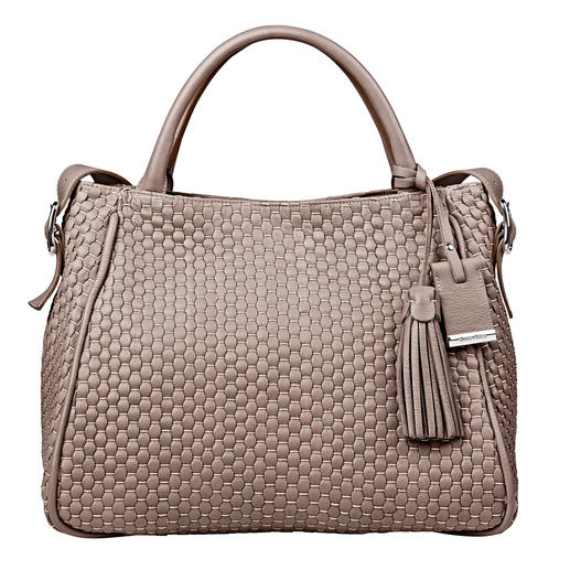 Bruno Parise Weave Bag, Taupe Hand made in Italy: bag made from woven cow leather and cotton. From Bruno Parise.
