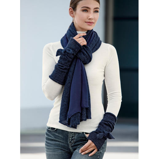 Ancini Double-Faced Scarf or Arm Warmers With Bow Wonderfully warm accessories with a unique feminine touch. Double-faced scarf and arm warmers with bow.