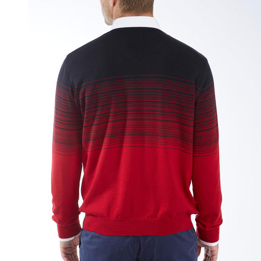 Graduated Colour Striped Pullover With striking graduated colour: A unique and fashionable way to wear stripes.
