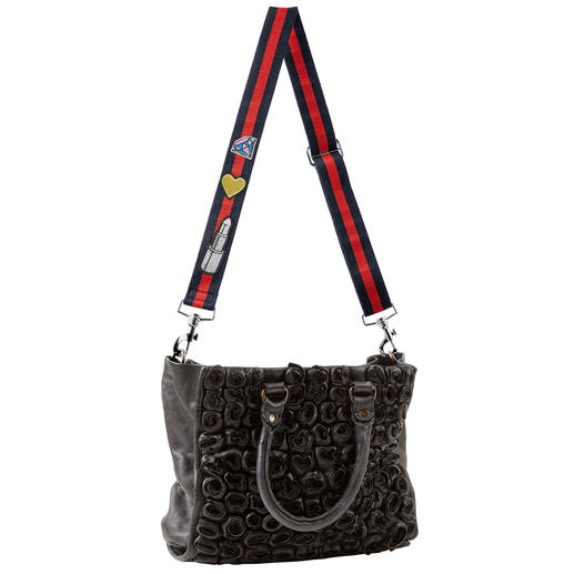 Replacement Bag Strap with Patches Only rarely available separately: Fashionable replacement bag strap with trend patches.