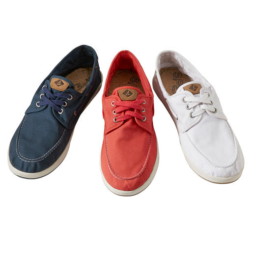Only 215g (7.6 oz): The boat shoe made of summery lightweight cotton canvas. Only 215g (7.6 oz): The boat shoe made of summery lightweight cotton canvas. By Sperry.