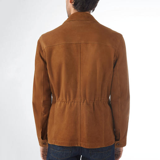 Lagerfeld Kid Suede Field Jacket The best leather jacket for summer is made of silky, soft kid suede leather. By Lagerfeld.