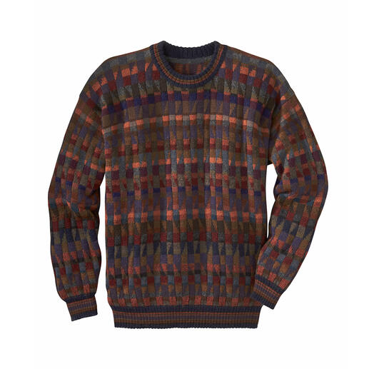 "Alpaca Pullover ""Mosaiko"" A work of art made in the Andes from 100% alpaca. Hand-knit in 28 colours. This mosaic is not laid but knitted."