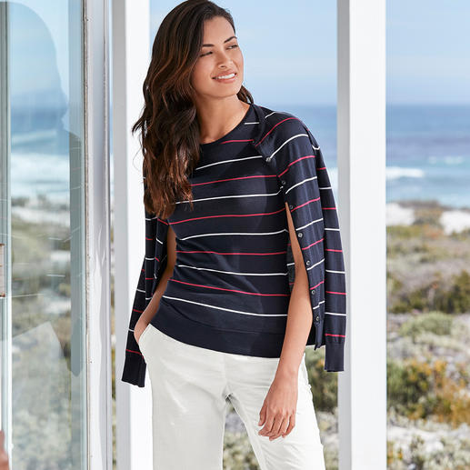 Smedley Striped Twinset, Navy/Red/White On-trend colours, on-trend stripes. The fine-knit twinset by John Smedley, England.