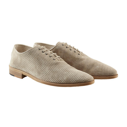 Andrea Zori Derby Shoes for the Summer Perforated derby shoes for summer made of soft calf suede. Made in Italy. By Andrea Zori.