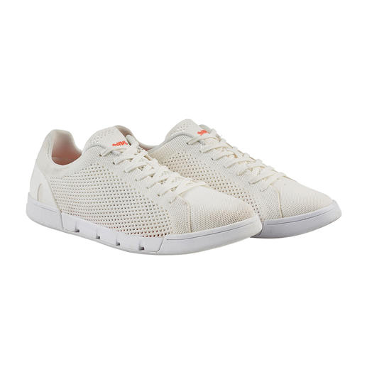 White sneakers that are always clean. White sneakers that are always clean. Machine washable. Saltwater-resistant. Quick-drying. By Swims/Norway.