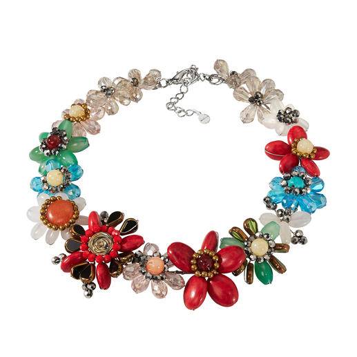 Smitten Statement Necklace, Multicolour Elaborately hand-made from single beads instead of mass-produced. By Smitten.