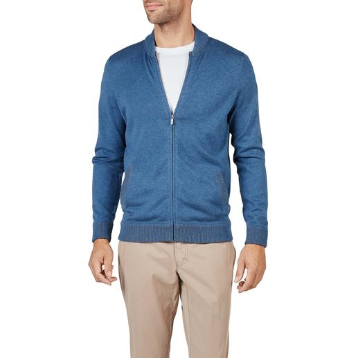 Pima Cotton Knitted Blouson Jacket As fashionable as a blouson. Yet much more comfortable. Jacket made of hand-picked Peruvian Pima cotton.