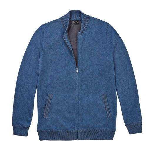 As fashionable as a blouson. Yet much more comfortable. As fashionable as a blouson. Yet much more comfortable. Jacket made of hand-picked Peruvian Pima cotton.