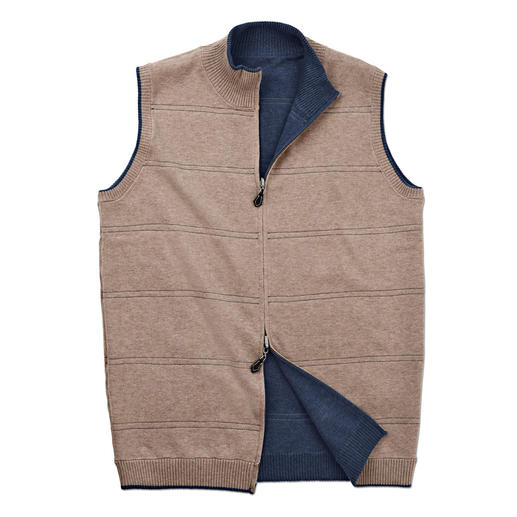 Alan Paine Reversible Knitted Waistcoat An easy to mix and match reversible knitted waistcoat by Alan Paine, 1907. Casual today, classic tomorrow.