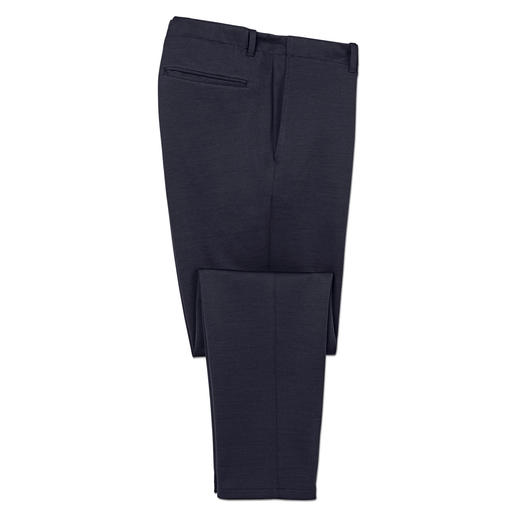 As smart as cloth trousers. As comfortable as tracksuit bottoms. As smart as cloth trousers. As comfortable as tracksuit bottoms. By Hiltl, Germany.