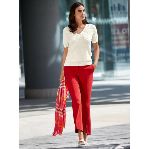"Seductive Red Trousers Soft and won't chafe thanks to ""Blended Wool"". Comfortably stretchy, hardwearing and machine washable."