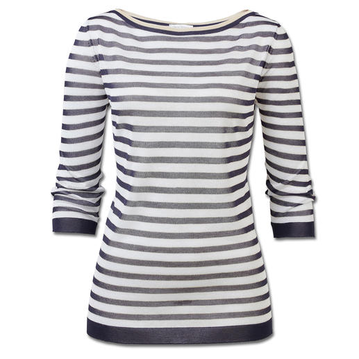 Gran Sasso Modern Maritime Jumper The fashionable version of the maritime striped jumper. With sparkling Lurex yarn and a trendy sheerness.