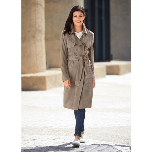 Kidskin Suede Trench Coat Surprisingly affordable and cheaper even more than some cotton trench coats.