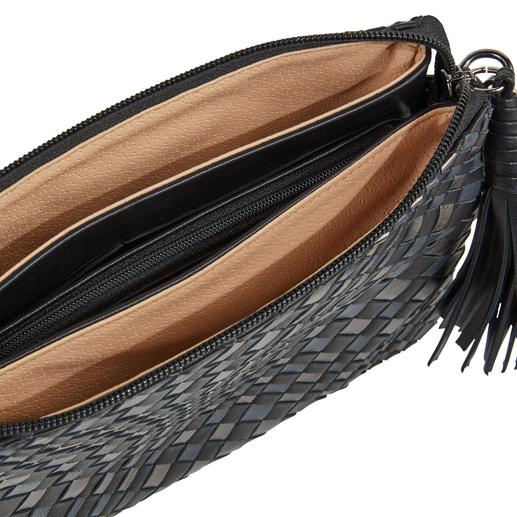 Fontanelli Woven Lambskin Nappa Handbag Hand woven and hand sewn. Made from supple, soft lamb's nappa leather. By Fontanelli. From Tuscany.