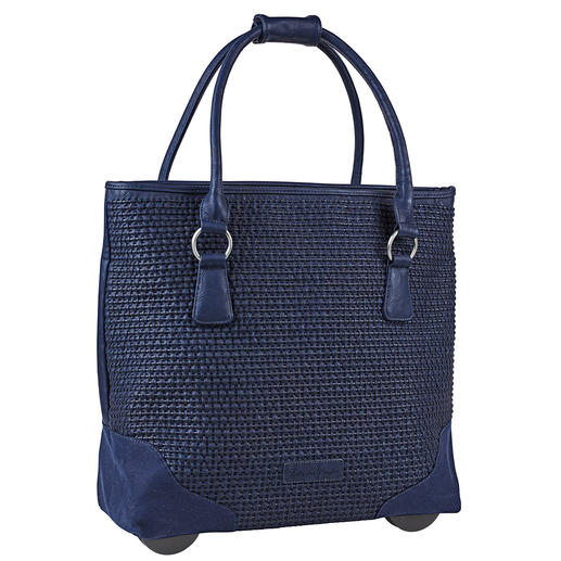 Fritzi aus Preußen Trolley Tote Bag, Midnight blue Always elegant. Ample capacity. Never too heavy. The XL tote bag with hidden trolley function.