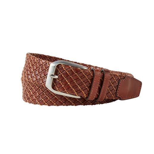 Leather Braided Business Belt This is just how elegant a leather, ­braided belt can be. Soft calfskin. Fine braiding. Classical buckle.