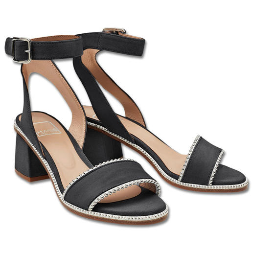 MA&LÒ Ankle Strap Sandals, Black Fashionable ankle strap sandals with studs: Comfortable heel height, very refined and at an affordable price.