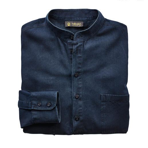 Hollington Nehru Denim Shirt Typical: The stand-up collar. New: The fashionable denim look. The legendary Nehru shirt by Patrick Hollington.